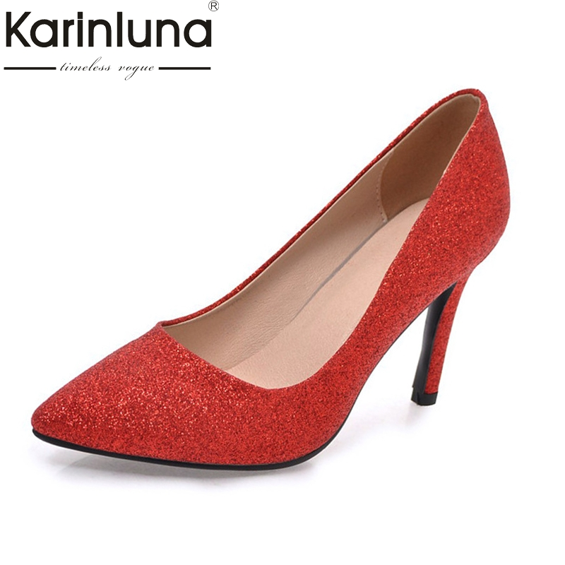 KarinLuna Womens Shinning Upper Pointed Toe Comfy Insole High Heel Pumps Party Wedding Shoes Woman Plus Size 32-45<br>