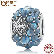 BAMOER Genuine 925 Sterling Silver Blue Oceanic Starfish, Frosty Mint CZ Beads fit Charm Bracelets & Bangles DIY Jewelry PSC085(China)