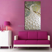 Handpainted Modern Knife Pictures On Canvas Pure White Peacock Art Oil Painting For Room Decor Wall Painting Hang Animals Craft(China)