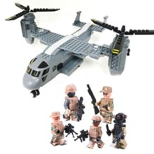 Compatible LegoINGlys Military Model War SWAT Series Armed army Vehicle V-22 Osprey Building Blocks Toys For Kids Gift