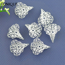 FUNIQUE  Silver Plated Flower Filligree Bead Caps Jewelry Findings Fit 18-24mm Beads For Making Bracelet Jewelry 28x24mm