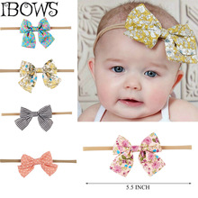 1Pc Lovely Kid Children Print Floral Fabric Bow Headband Striped Dots Elastic Nylon Hair Band For Baby Girl Headwear(China)