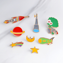 1 piece Metal Enamel Button Pins Badge Cartoon Star Moon Alien Telescope Meteor Rocket Brooch Jewelry Gift For Women Men Kid(China)