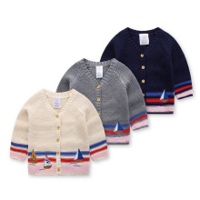 Sailboat embroidery cotton line boy sweater baby children sweater line clothing brand children's clothing sweater autumn