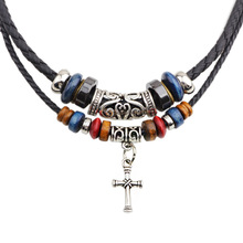 Traditional religious necklace, double root beaded cross necklace, leather rope braided necklace jewelry