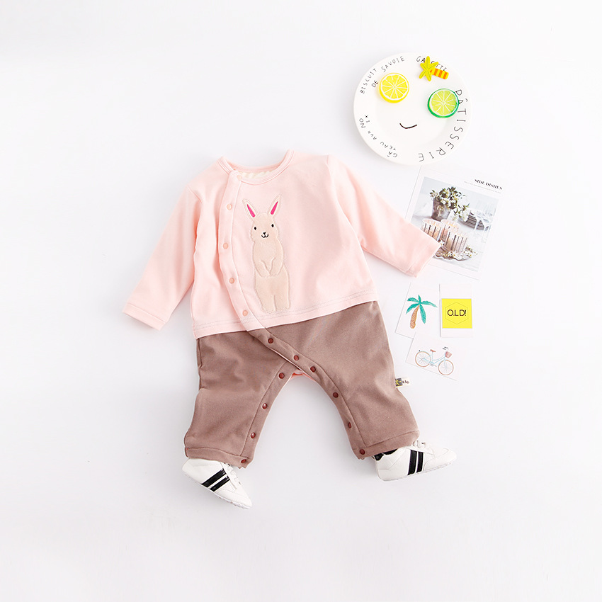 Baby clothes cute cartoon Printing bear Newborn Boys Girls baby overalls winter thicken keep warm baby jumpsuit single Breasted<br>