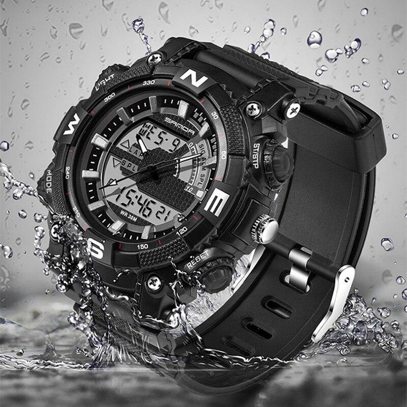 sanda 743 Luxury Brand Men Military Sports Watches Digital LED Quartz Wristwatches rubber strap relogio masculino<br><br>Aliexpress