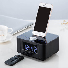 Bluetooth V2.1 Dual USB Speaker Docking Station Black 4W+4W 3.2 inch LED FM MP3 Speakers with Radio Alarm Clock for iPhone iPad