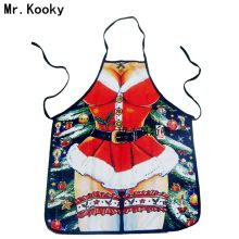 Mr.Kooky Hot Sale Funny Cool Christmas Santa Claus Red Dress Bar BBQ Cool Apron Props Party Fancy Dress Friend Lovers Great Gift