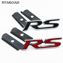 10X Wholesale Black Red Chrome Metal RS Car Grille Badge for FORD Focus Mondeo Chevrolet cruze Styling Emblem Badge Accessories(China)