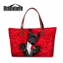 Dispalang Large Shoulder Handbag Dog Patterns Branded Big Tote Bag Animal Printing Women fashionable shoulder bags beach bag(China)