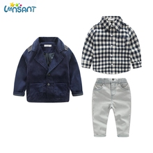 LONSANT Brands Children Clothing Set Occident Gentleman Jacket Plaid Shirt 3Pcs Baby Boy Kids Clothes Set Dropshipping 1-7Y