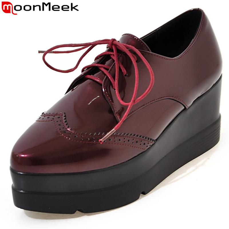 MoonMeek 2017 new arrive women pumps fashion lace up spring autumn patent leather wedges shoes classic platform high heels shoes<br>