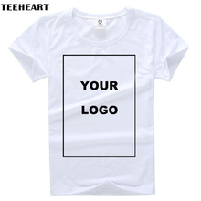TEEHEART Customized T shirt Women Female Print Your Own Design High Quality Send Out In 3 Days White Color(China)