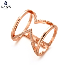 DAN'S New Style Fashion Bijoux Long Ring for Women Female Double Chevron Ring V Shape with Paved Cubic Zirconia Anillos #10386