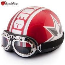 2017 New Unisex Vintage Open Face Half Blue Motorcycle Motorbike Helmet & Goggles & Visor(China)