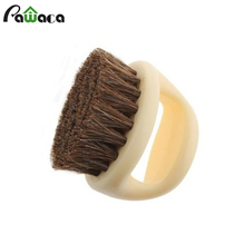 Horseshoe Shape Horse Hair Soft Horse Mane Shoe Brush Wooden Handle Shoes Shine Brush Polish Bristle Horse Hair Buffing Brush