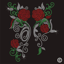 2pc/lot Floral Roses Applique fixing rhinestones hot fix rhinestone transfers iron on crystal transfers design(China)