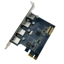 4 Port USB 3.0 PCI Express Card PCIe USB 3.0 Host Controller 4 x USB3.0 Adapter with 15pin SATA Power Chip Fresco FL1100(China)