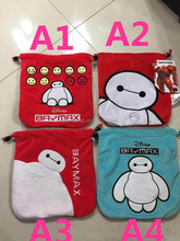 Lot/6pcs wholesales 2015 New arrival Q cute lovely Super fighting Big Hero 6 Baymax floss Pouch Cell phone bunch tie pocket bag
