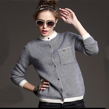 Fashion Trend Real Mink Wool Cardigan Sweater Women Hot selling natural cashmere blend sweater gold button DFP732