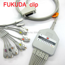 Fukuda Denshi FX-2111 FX-3010 FX-4010 FCP-2155 EKG cable 10 lead ecg cable 15 pin connector clip leads on terminal