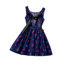 New Little Girl Baby Print Leisure Summer Dress 2017 Princess Girl Birthday Party Clothes Beach Style Sundress For Kids Clothing(China)
