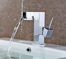 DMWD Polished Basin sink waterfall Tap, single lever single hole Deck Mounted basin waterfall Faucet tap Mixer(China)