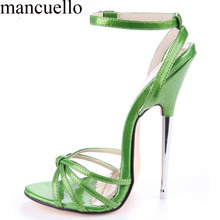 2017 Sexy Ladies Summer Strappy Shiny Leather 16 cm Stiletto Metal High Heels Sandals Women Cross Knot Cut out Club Sandal Shoes