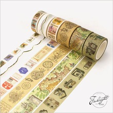 Ancient Camera Map Retro Stamps Formula Travelling Decoration Washi Tape DIY Planner Diary Scrapbooking Sticker Masking Tape