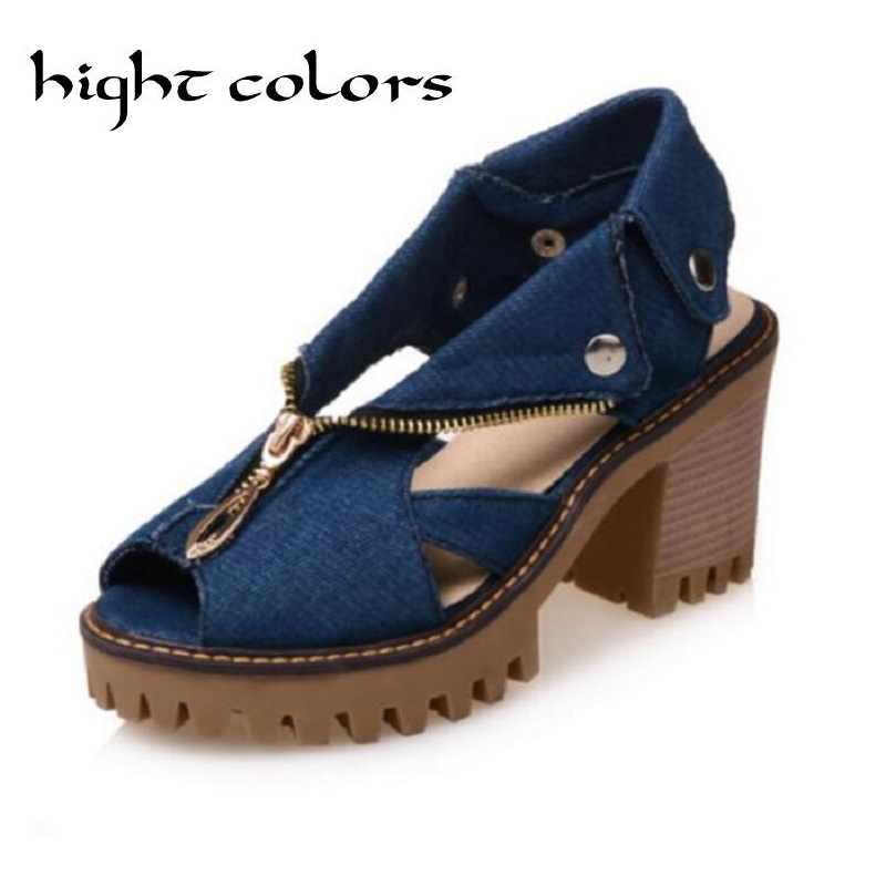 New Fashion Jeans Zipper Thick Bottom Waterproof  Flip Flops Open Toe Gladiator Sandals For Women High Heel Casual Shoes<br>
