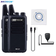 2PCS Mini Walkie Talkie NKTECH NK-U1 VS WLN KD-C1 400-470MHz 5W 16 Channels Handheld Ham Transceiver Two-way Radio +Cable+mic