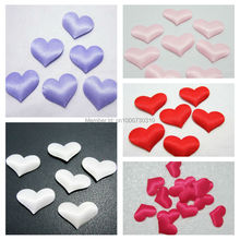 100pcs 20mm Padded Felt Heart Applique/Sewing/wedding decoration/Trim DIY A07(China)