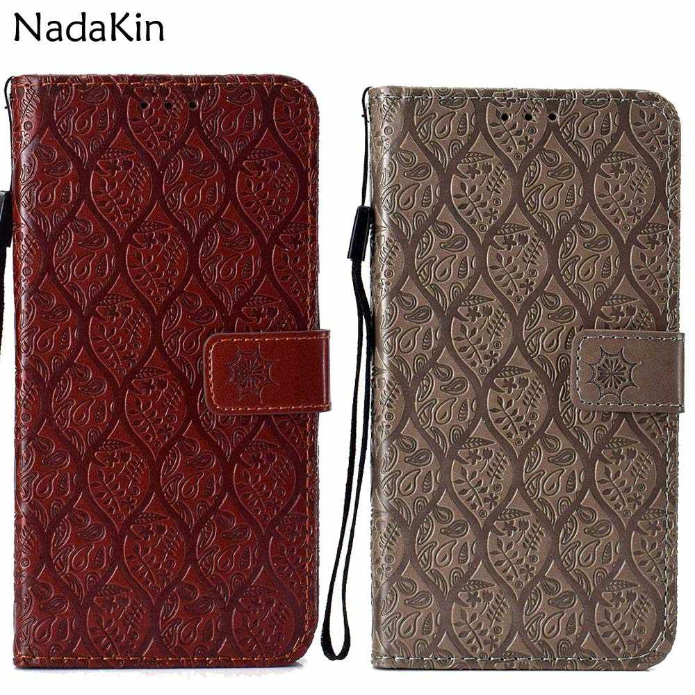 for Xiaomi Pocophone F1 Mi A2 Lite Rattan Flower Embossed Leather Book Phone Case Wallet Flip Cover Hand Strap Card Photo Slots