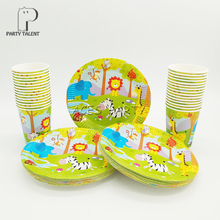 Party supplies 48pcs Jungle Safari Animals party kids birthday party tableware set, 24pcs plates dishes and 24pcs cups glasses(China)