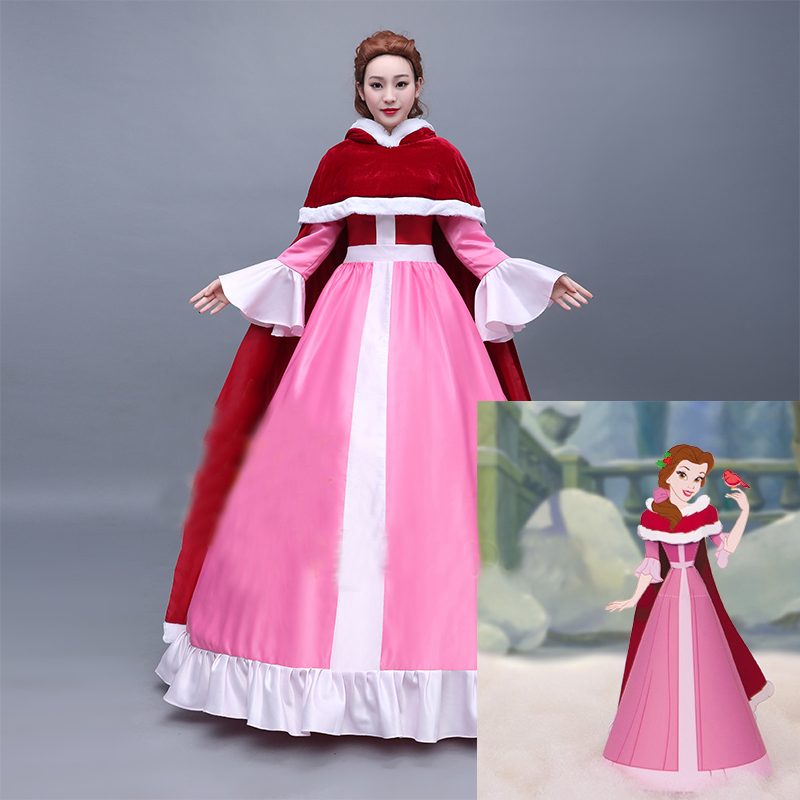 Beauty and the Beast Belle Dress Little Red Riding Hood Dress Cloak Cosplay Costume Adult Halloween Carnival Party Costume
