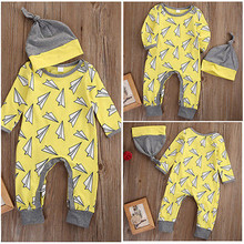 Baby Boy Fashion Long Sleeve Paper Airplane Print Romper Jumpsuit+Hat Outfits Set Clothes 2Pcs New Autumn Spring Newborn Infant