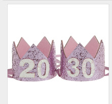 1pc 20 30 Year Old Birthday Crown Adult Party Hats Princess Caps Women Cake Photo Props Decor