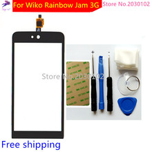 Free Tools+ New Touch Screen For Wiko Rainbow Jam 3G Glass Capacitive Sensor For Wiko Rainbow Jam 3G Touch Screen Panel Black