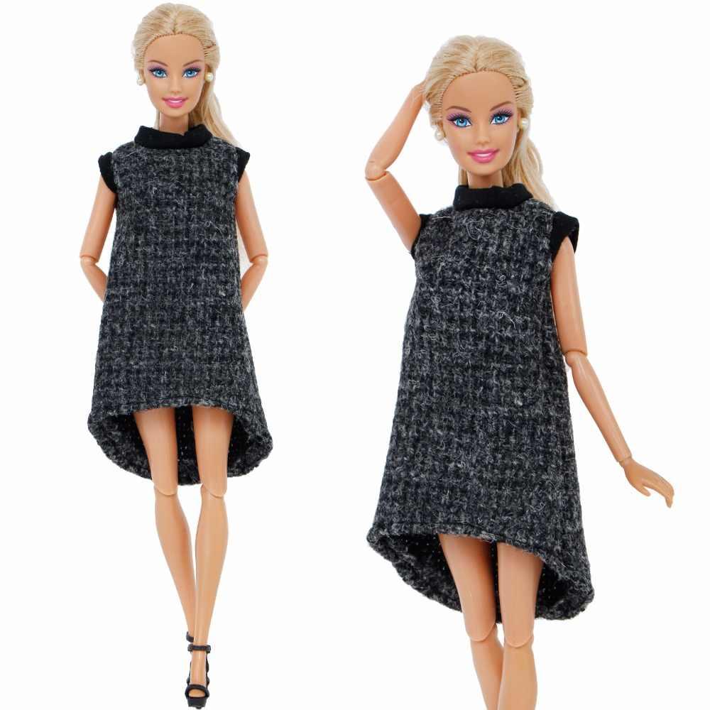 Elegant Lady Dress Black Woolen Skirt Party Wear Skirt + Mini High Heels Shoes  Clothes For 863d32b13929