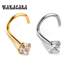 Fashion 3MM Zircon Rhinestone Septum Nose Studs Hooks Bar Pin Nose Rings Body Piercing Stainless Steel Jewelry For body feminino(China)