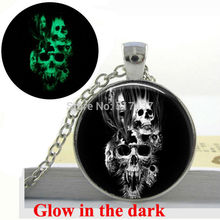 Glow in the Dark Pendant Rider burning skull necklace glass photo pendant necklace Glowing jewelry Easter gift(China)