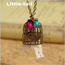 New listing LITTLE-TAIL hand-made bird cage bronze necklace fashion retro fashion high-quality female necklace