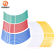 POSSBAY 16Pcs/Set 16 Strips Bike Motocross Motorcycle Wheel Tire Reflective Rim Stickers And Decals Decoration Car Styling ATV