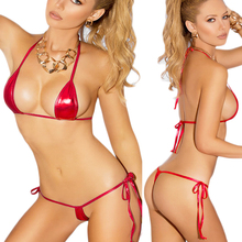 Women Sexy Mini Bikini Costume Lady Bra and G-string Underwear Lingeries Strap Erotic Wet Look Metallic Bikini Lingerie Swimwear