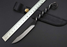 Screw Thread Handle Tactical Survival Knife Fixed Hand-forged Hunting Fixed Blade Knife With Black Leather Sheath