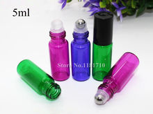 50pcs/lot 5ml Roll on Glass Bottle with Glass/Metal Roller Ball for Fragrant Perfume Essential Oil Pink/Blue/Green