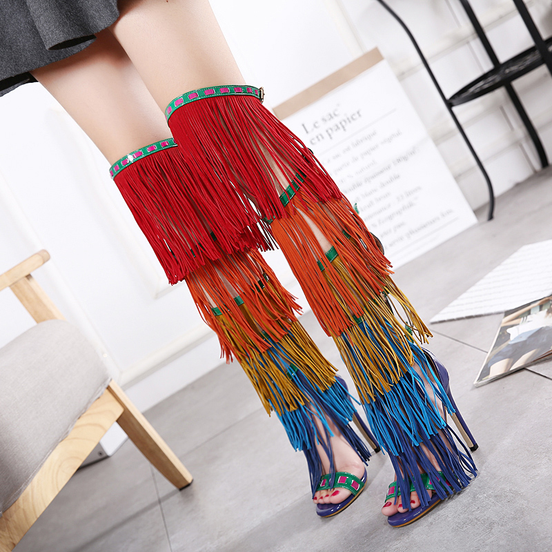 Colorful Sexy Over Knee High Gladiator Shoes High Heels Sandals Cross Strappy Stiletto Summer Boots Shoes Woman Zapatos Mujer<br>