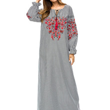 Elegant adult Muslim Abaya Arab Turkish Singapore embroidery Jilbab Dubai Muslims  Women gray Islamic dress dropship 5022077b334a
