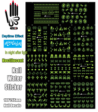 11 Sheets/Lot Nail Sticker DG012-022 Noctilucent Mix Skull Cross Nail Water Transfer Sticker Decal For Nail(11 DESIGNS IN 1)(China)